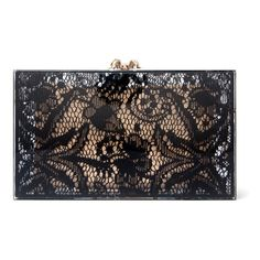Lace print clutch with structured rectangle design, top spider clasp accent, magnetic closure, and hinged bottom. Includes removable interior pouch. Measures 7…