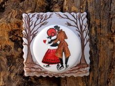 Let it snow!  Cookie Art ~ Winter Couple decorated sugar cookie