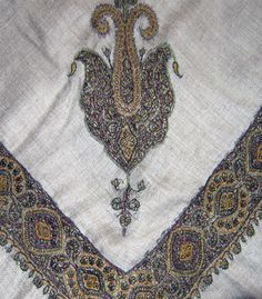 Kashmiri Shawls, Ethnic Design, Pashmina Shawl, Black Flowers, Hand Embroidery, Bohemian Rug, Cool Designs, Scarves, Stitch