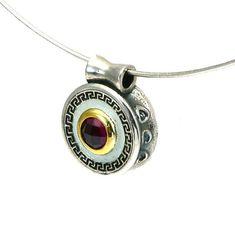 Greek Key Pendant Silver Pendant Ruby Gemstone Meander #whiteenamel #ruby Greek Design, Titanium Jewelry, Greek Jewelry, Ruby Gemstone, Key Pendant, Jewelry Design, Unique Jewelry, White Enamel, Semi Precious Gemstones