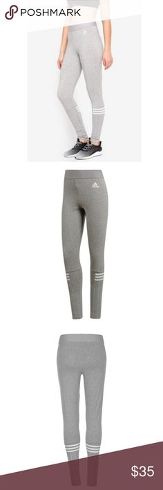 0813448ce5703e NWT Adidas Jersey Leggings New Size xs High rise Slim fit Gray and white  adidas Pants Leggings
