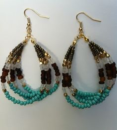 Beaded Earrings Turquois Seed bead multistrand Teardrop Jewelry. $15.00, via Etsy.