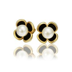 18K Gold Stud Earrings Clover White Pearl Eco Friendly - Adisaer Jewelry >>> You can get more details by clicking on the image.