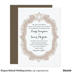 Elegant Mehndi Wedding Invitation Henna inspired wedding design in earthy brown and taupe tones. For matching rsvp cards, invites, inserts, postage and other matching items click the link below to view the entire Elegant Mehndi Collection.