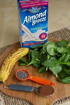 Classic Green Monster Shake uses 1 cup almond milk, 1 ripe banana peeled + frozen, 2 handfuls organic spinach, 1 T ground flax, 1 T peanut butter, 1-3 ice cubes and protein powder   Directions: Starting with 1 cup of milk, then add flax and nut butter. Next, add in the spinach followed by the banana on top. Blend until smooth. Add in your ice cubes and blend some more. Serves 1- about 2 cups.
