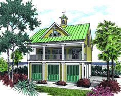 House Plan 048-00033 -This narrow lot coastal home features rich color contrasting, 32'w and 34'd lot dimensions w/2 beds/2baths. The characteristic seaside exterior includes a window gable, overhead cupola and the lower level features floor to ceiling shutters for great storage options.
