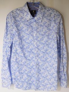 Steel & Jelly London Long Sleeve Men's Casual Shirt Floral LT Blue Small #SteelJelly #ButtonFront