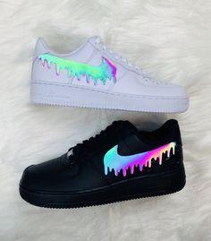 Cute Nike Shoes, Cute Nikes, Cute Sneakers, Shoes Cool, Nike Custom Shoes, Black Shoes Sneakers, Custom Jordans, Custom Painted Shoes, Black Nike Shoes