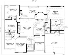 I love this floor plan. The split bedrooms, outdoor fireplace, open floor plan w. - House Plans, Home Plan Designs, Floor Plans and Blueprints House Plans One Story, House Plans And More, Ranch House Plans, Best House Plans, Bedroom House Plans, Dream House Plans, Story House, House Floor Plans, The Plan