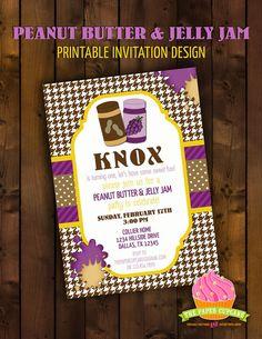 Printable Invitation Design  PB&J Peanut by papercupcakedesigns