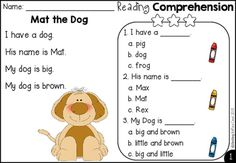 Free Kindergarten Reading Comprehension