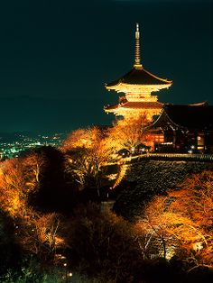 Kiyomizu Temple at Night, Gion, Kyoto, Japan
