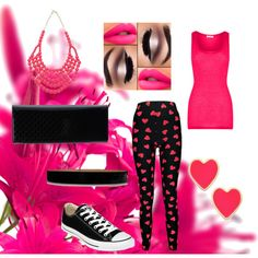 A fashion look from April 2015 featuring pink top, legging pants and black sneakers. Browse and shop related looks. Lipsy, Balmain, Boohoo, Kate Spade, Converse, Gucci, Shoe Bag, American, Polyvore