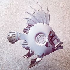 An oldie but a goodie - pity it disappeared one day... #johndory #vauxhall #fish #angling #recycle  www.hubcapcreatures.com