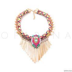 Collar Boho Multicolor de Perlas y Pedreria. #boho #bohotrend #oparina #statement #statementnecklace #gypsy #madewithstudio