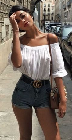 simple summer outfit / white off shoulder top + bag + denim shorts + gucci belt