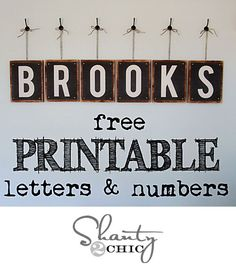 Free Printable Letters. These are great. There are letters of the alphabet, numbers 0-9 and even a pretty ampersand and heart. They are in 8x10 and would go great in a school room, on a kids' wall or ANYWHERE. The letters are all uppercase.
