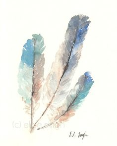 Bird Feathers, Fine Art Giclee Print from Watercolor Painting, Blue, Teal, Green, Brown, Grey, 8x10