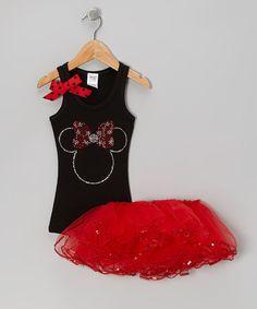 Black Mouse Tank & Red Tutu - Toddler & Girls