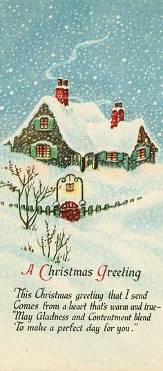Vintage Christmas greeting card with cozy home in aqua blue snow Vintage Christmas Images, Old Christmas, Old Fashioned Christmas, Christmas Scenes, Retro Christmas, Vintage Holiday, Christmas Pictures, Illustration Noel, Christmas Illustration