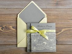 Pocket Fold Lce Wedding Invitation Grey paper by 4LOVEPolkaDots, $7.00  @Shannon McCallum thoughts?