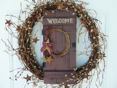 Welcome Primitive Wreath with Tin Stars