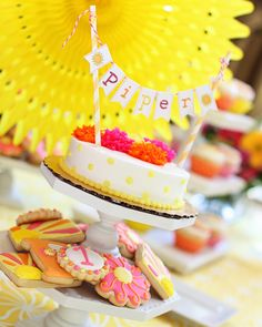 Sunshine cake with mini cake bunting