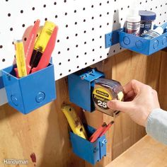 Electrical junction boxes as pegboard storage attachments Tool Organization Ideas Garage 51 Workshop Storage, Shed Storage, Garage Workshop, Garage Storage, Tool Storage, Storage Ideas, Diy Storage, Workshop Ideas, Small Storage
