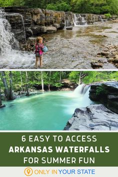 Enjoy short walks or hikes on easy trails and discover these 6 beautiful waterfalls in Arkansas. Some serve as swimming holes and all are perfect for summer fun. | Best Summer Hikes | Trails Under A Mile | Things To Do With Kids | Family And Beginner Friendly | Natural Swimming Holes | Budget Friendly Day Trips | Picnic Spots | Outdoors Arkansas Vacations, Best Vacations, Vacation Wishes, Vacation Ideas, Family Trips, Family Travel, Summer Travel, Summer Fun, Arkansas Waterfalls