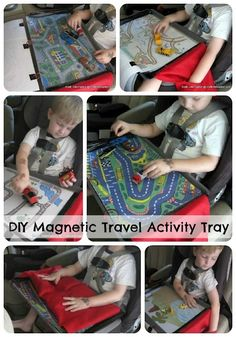 DIY Magnetic Travel Activity Tray...great for the car with several sheets to play on.  A cookie sheet underneath and magnets on the bottoms of toys.  Possibilities are endless.