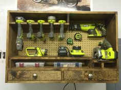 Power tool storage, Ryobi - could be so cool to have food hung like this at guy's event.