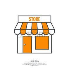 Facade of shops, supermarkets, marketplace. Pictogram icon Building. minimal…