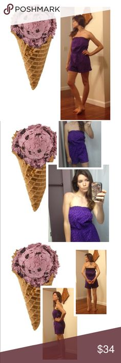 Pretty Purple Romper Super cute romper and very pretty purple color!! Size large-- strapless--perfect for summer time, beach, shopping, etc! Extremely comfy and light weight ' OP Dresses