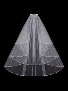 Sparkling Two Layer Rhinestone Beaded Fingertip Wedding Veil Envogue V602W - Affordable Elegance Bridal -