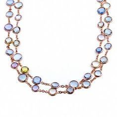 53.00ct Rose Cut Multi Color Sapphire 14k Pink Gold By The Yard Necklace - See more at: http://www.newyorkestatejewelry.com/necklaces/53.00ct-sapphire-gold-by-the-yard-necklace-/23763/7/item#sthash.34eGXuUi.dpuf