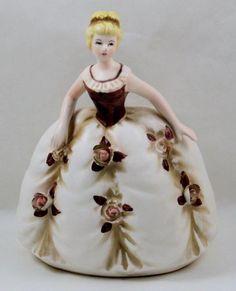 Porcelain Lady Planter Samson Import Relpo Raised Flowers #5432A 1963 Vintage #RelpoSamsonImports