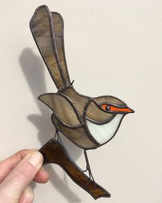It's a GIRL! 🧡 I've always intended on making a female fairy wren. This wee cutie will make her debut tomorrow… Stained Glass Suncatchers, Stained Glass Flowers, Faux Stained Glass, Stained Glass Lamps, Stained Glass Designs, Stained Glass Projects, Stained Glass Patterns, Mosaic Designs, Fused Glass