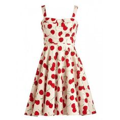 White Spaghetti Strap Cherry Print Pleat Skater Dress ($48) ❤ liked on Polyvore featuring dresses, white skater dresses, cherry print dress, white day dress, pleated dress and skater dresses