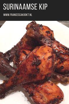 Marinated Surinam chicken Surinaamse kip Recipe on www. Carribean Food, Caribbean Recipes, Suriname Food, Asian Recipes, Healthy Recipes, Food Porn, Healthy Slow Cooker, Exotic Food, Comfort Food