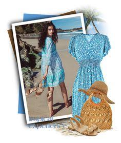"""Aqua Blue & White Damask Print Empire Waist Dress"" by tasha1973 ❤ liked on Polyvore featuring Jack Rogers"