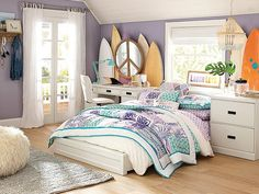 I love the PBteen Paramount Floral Surf Bedroom on pbteen.com
