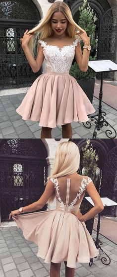 Cute pink lace short prom dress, pink homecoming dress, pink lace formal dress