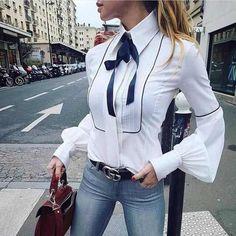 Office Bow Tie Blouse Women Lantern Sleeve White Button Necktie Shirts Female Elegant Work Shirt Casual Tops New 2018 Spring Fashion Mode, Look Fashion, New Fashion, Womens Fashion, Fashion Trends, Fashion Clothes, Autumn Fashion, Luxury Fashion, Fashion Dresses