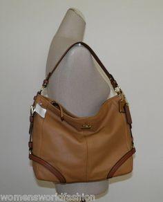 Coach Camel Brown Leather Chelsea Katarina Hobo Tote Handbag