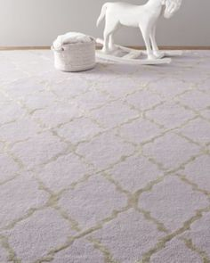 RH Baby & Child's Aliya Trellis Rug:Plush wool pile – known for its softness – is a natural choice for a child's space. Our rug is all the more appealing with its graceful arabesque design, rendered in silky viscose for a subtle shimmer. Finished by hand, the slightly uneven edges and subtle variations in texture enhance its character.