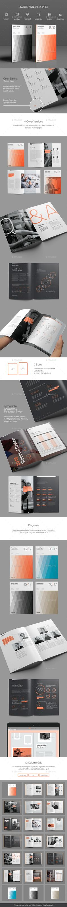 Divided Annual Report Template InDesign INDD #design Download: http://graphicriver.net/item/divided-annual-report-template/13185075?ref=ksioks