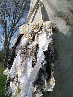 Black White Tote Bag Purse Flutter Victorian Goth by FrillSeekerz,