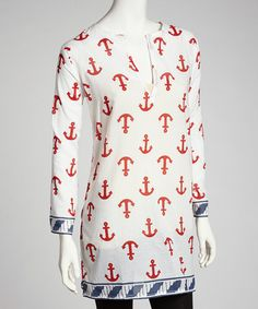 Take a look at this Red & Navy Anchor Tunic by Barbara Gerwit on #zulily today!