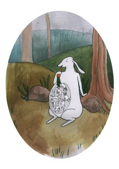 Pregnant bunny with a see-through belly Gouache, Bunnies, Illustrations, Illustration, Baby Bunnies, Rabbits, Hare, Character Illustration, Illustrators
