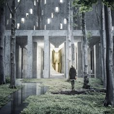 "A disused grain silo in Malmö is converted into a crematorium and ""vertical cemetery"" in this proposal by Swedish architecture students Fredrik Thornström and Karolina Pajnowska. Contemporary Building, Contemporary Doors, Contemporary Garden, Contemporary Architecture, Contemporary Paintings, Contemporary Design, Minimalist Architecture, Contemporary Apartment, Contemporary Office"